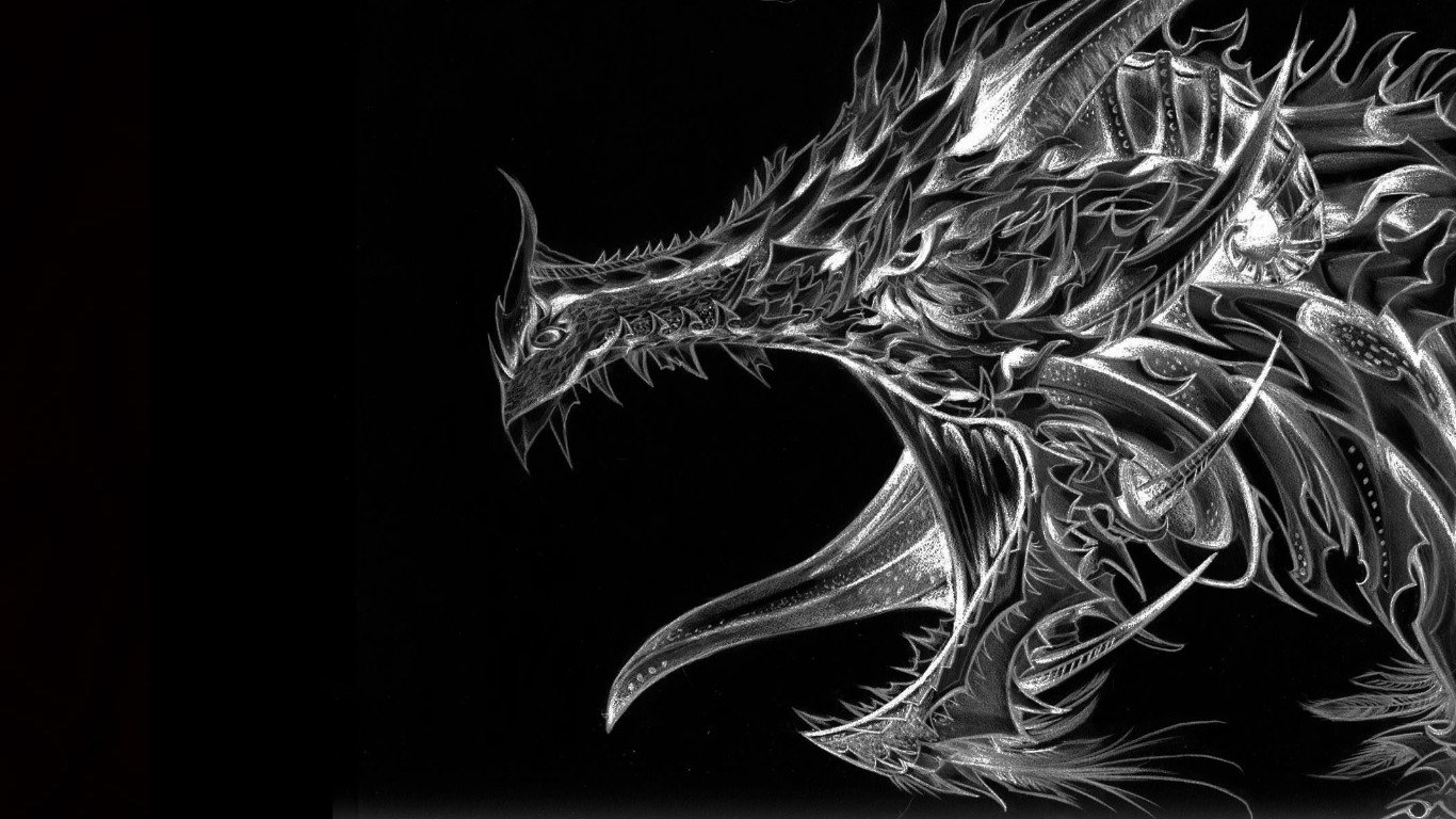 Black and White Dragon Computer Wallpapers Desktop Backgrounds 1366x768
