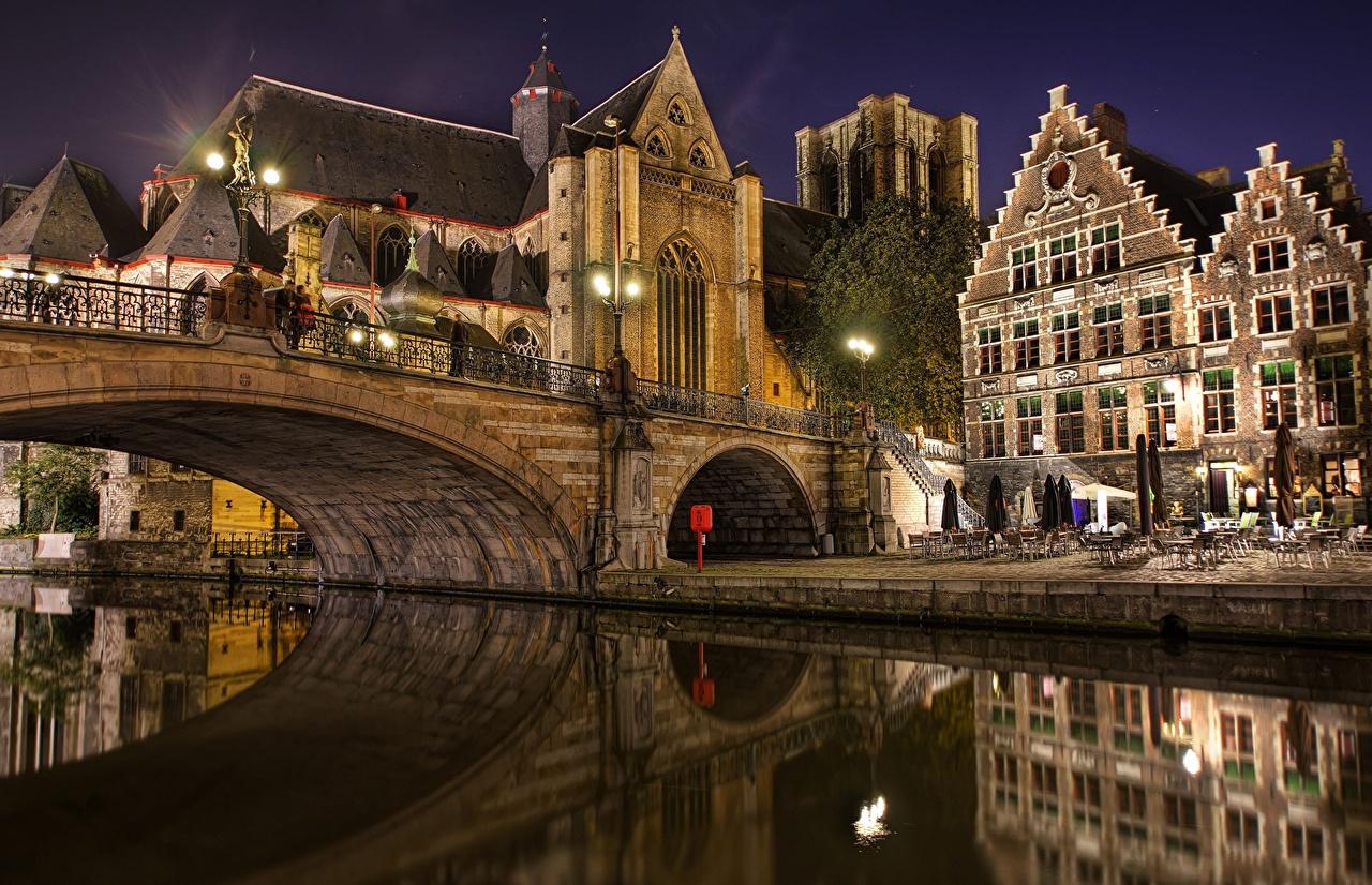 Desktop Wallpapers Cities Belgium bridge Bruges night time 1280x826