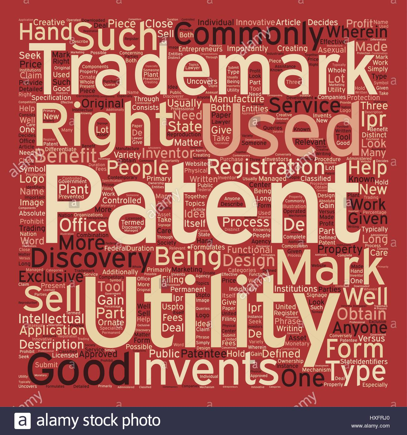 patent trademark text background wordcloud concept Stock Vector 1300x1390