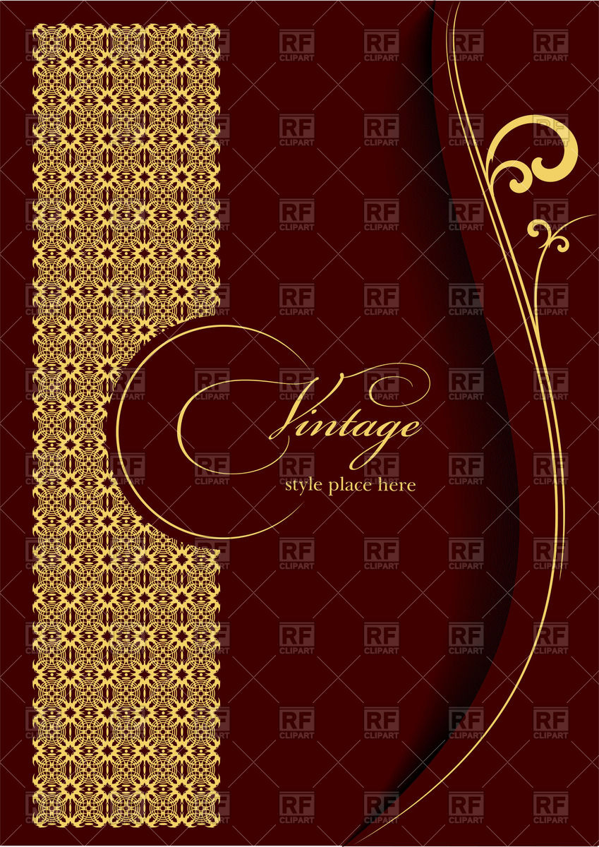 Elegant gold ornament on burgundy background   Template for brochure 849x1200