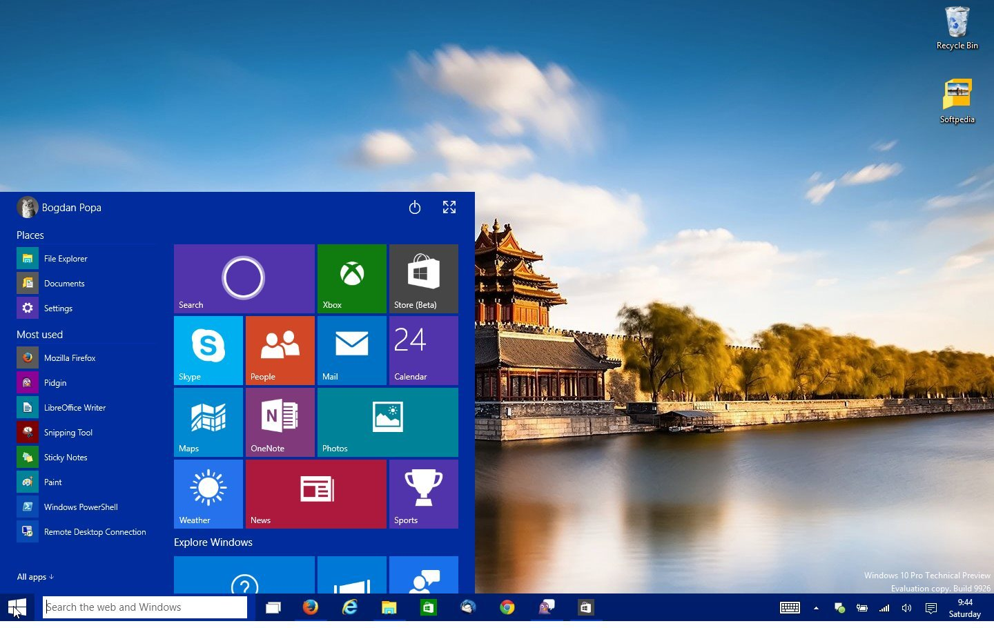 Windows 10 is currently in TP development stage 1440x910