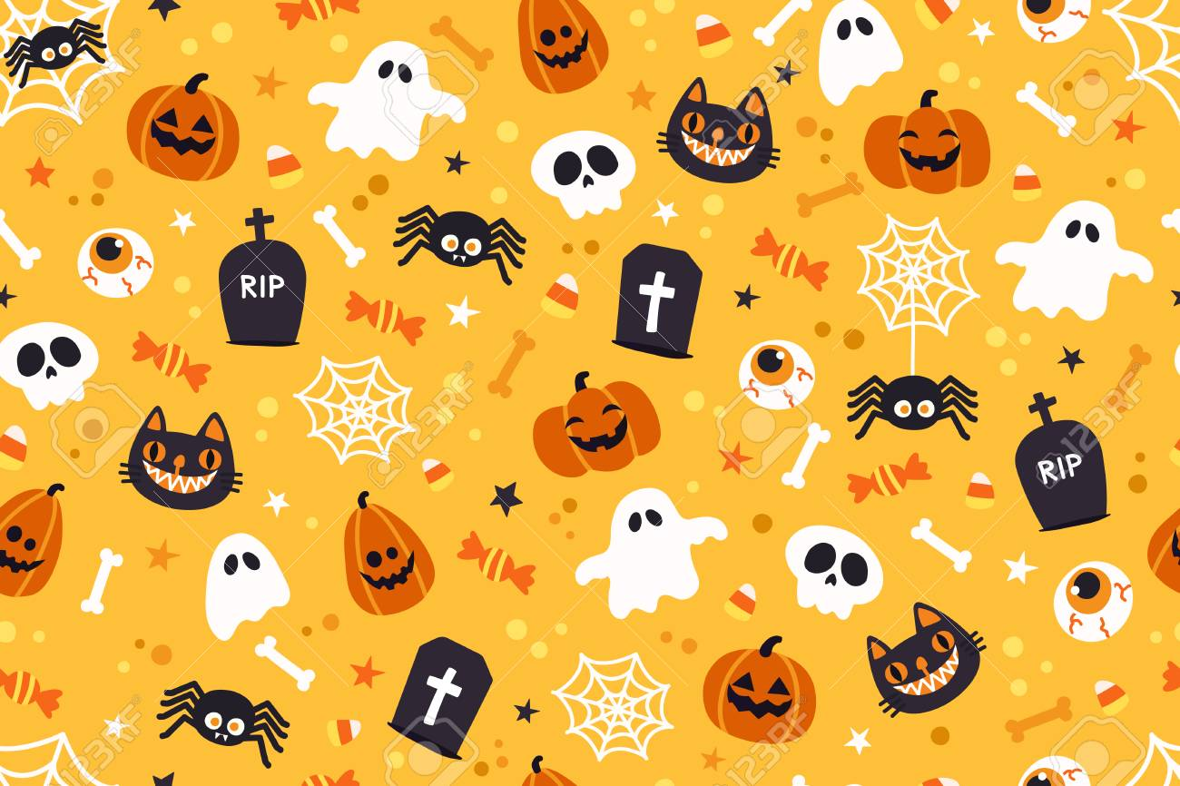 Halloween Cute Pattern Background Royalty Cliparts Vectors 1300x866
