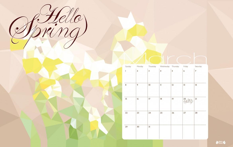 March 2015 calendar printable   Hello Spring   Papier Bonbon 1170x739
