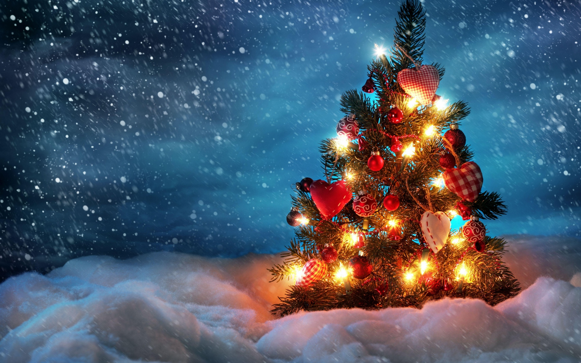 1920x1200 Wallpaper tree new year christmas snow holiday night 1920x1200