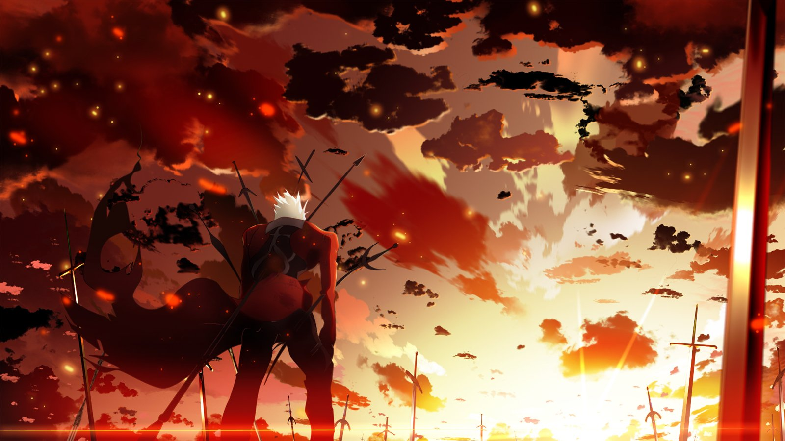 archer clouds fate stay night sky skyt2 sunset wallpaper background 1600x900