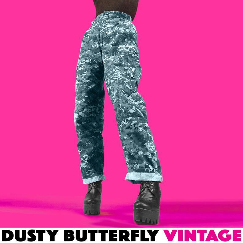 Vintage Blue Digi Camo Army Pants Womens Large XL 12 14 16 Etsy 794x794