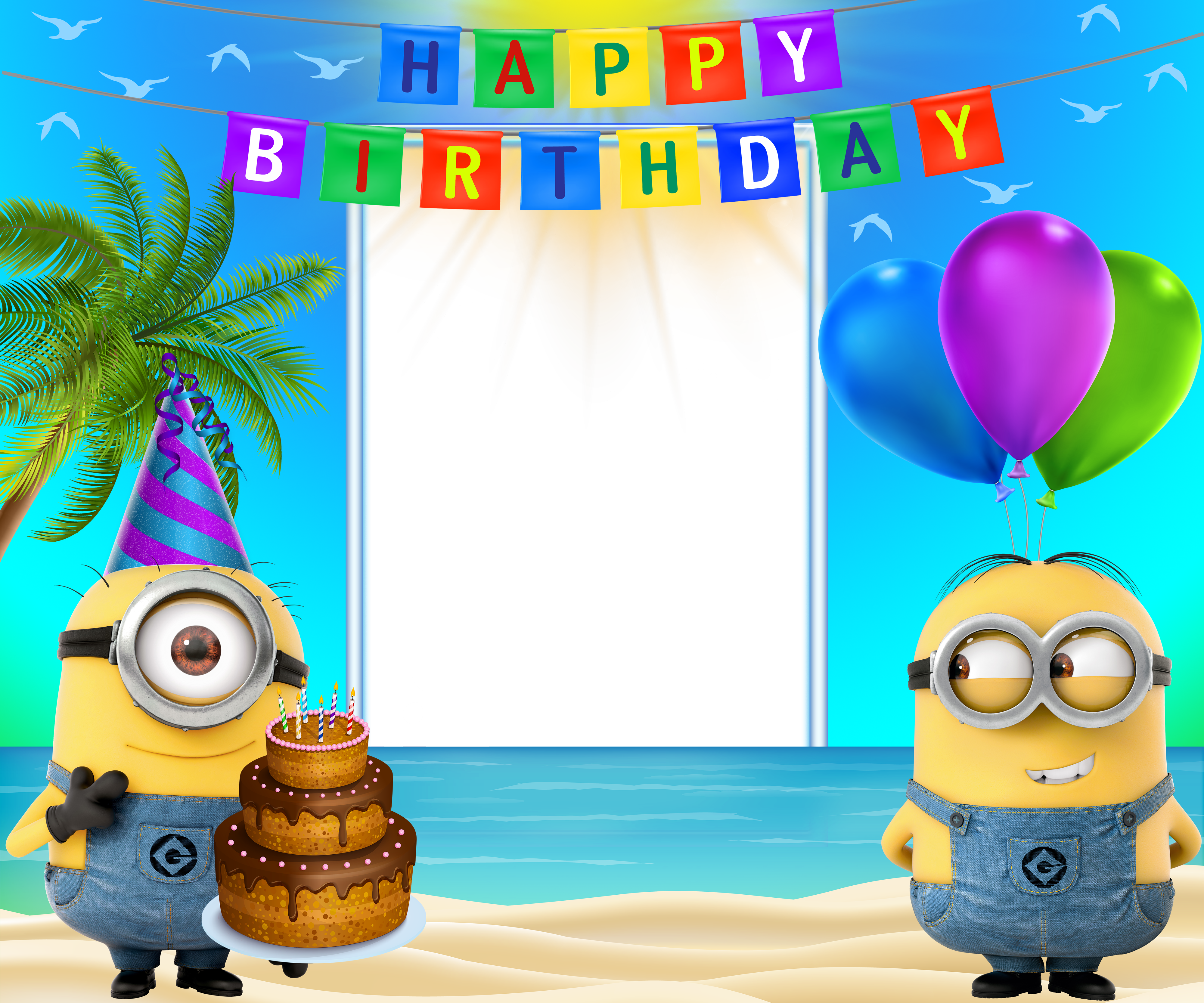 Happy Birthday Transparent Frame with Minions Gallery 4000x3333