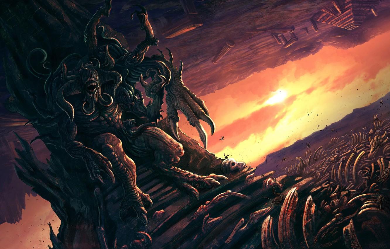 Wallpaper Monster Bones The demon Fiction Illustration Demon 1332x850