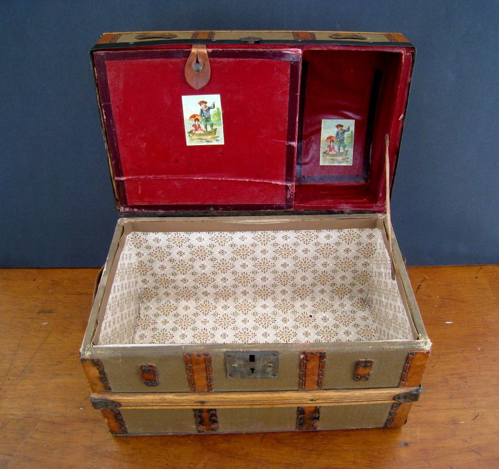 Antique Dome Top Doll Trunk c1900 Miniature Steamer Trunk RCL233 1024x963
