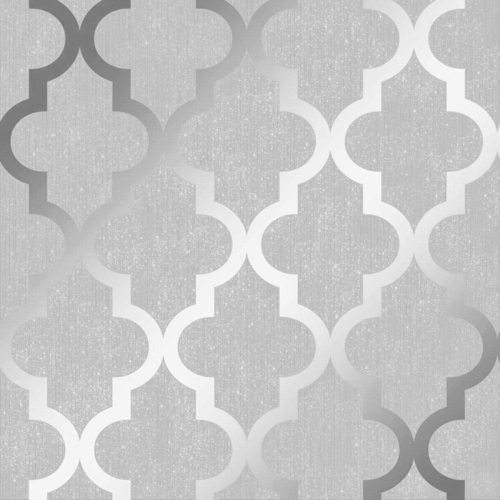 Henderson Interiors Camden Trellis Wallpaper Soft Grey Silver 1000x1000