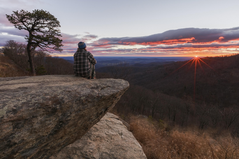 Man or Woman Watching the Sunrise Hazel Mountain Overlook 3000x1999
