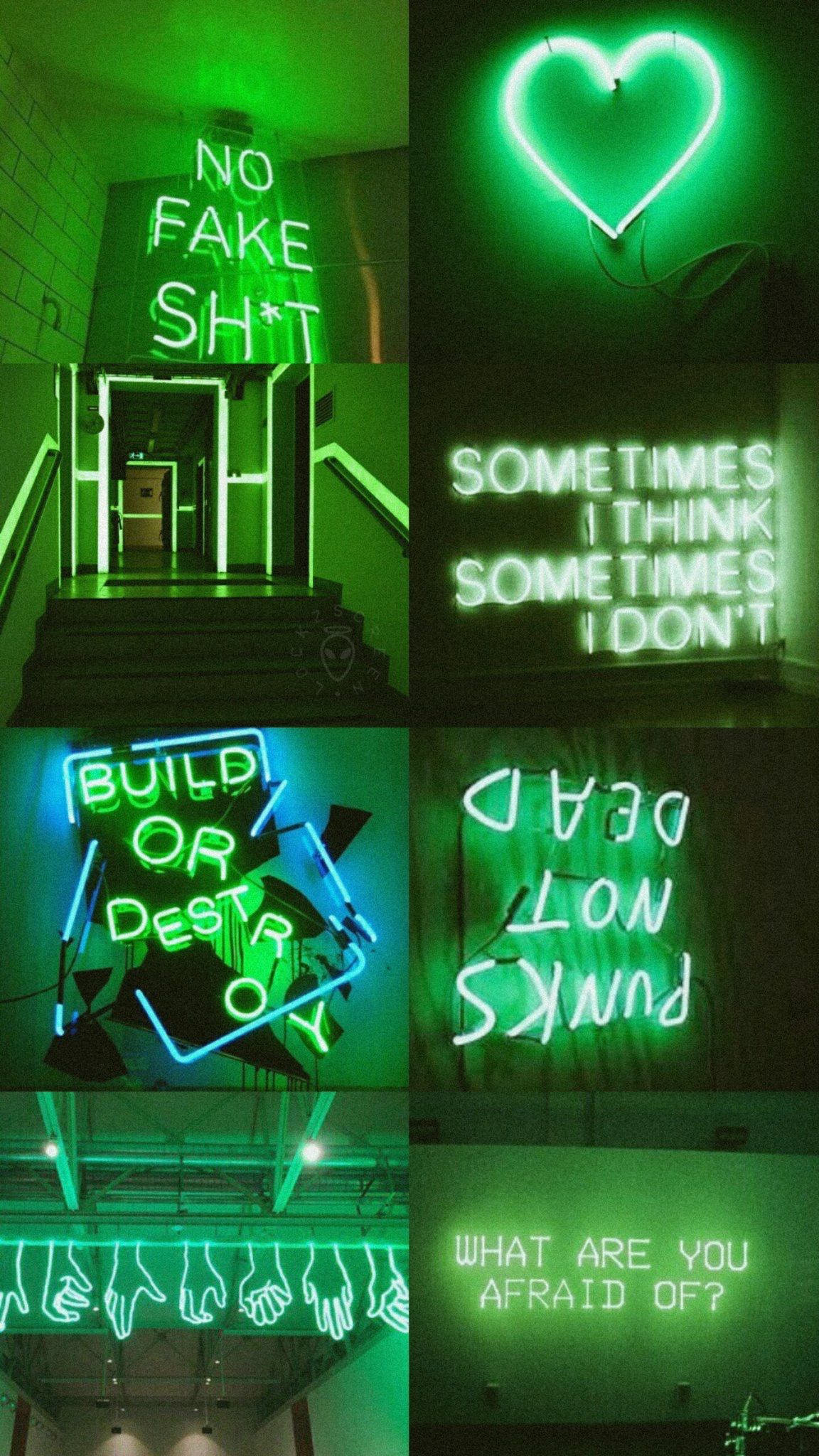 Green Aesthetic Collages in 2019 Neon wallpaper Green 1152x2048