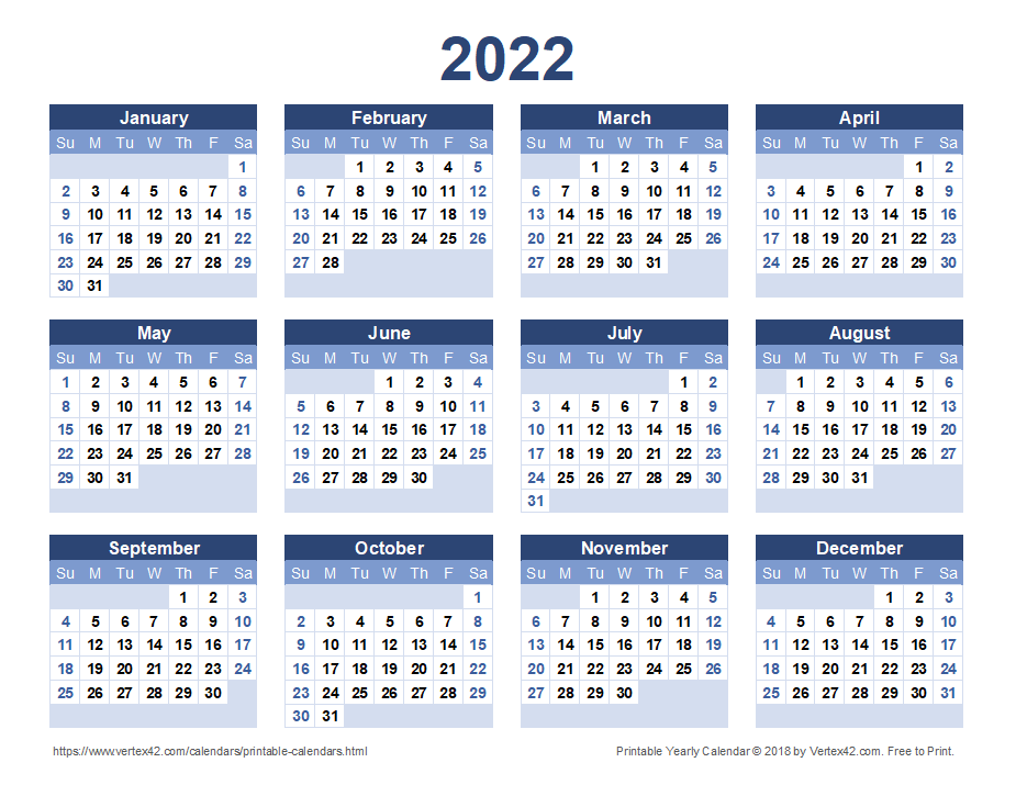 2022 Calendar Templates and Images 925x715