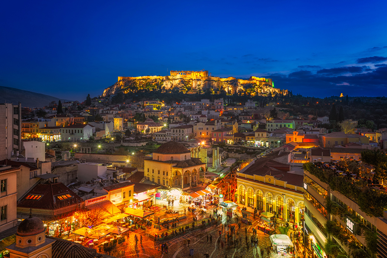 Wallpapers Greece Town square Athens Attica Evening Cities Building 1280x853