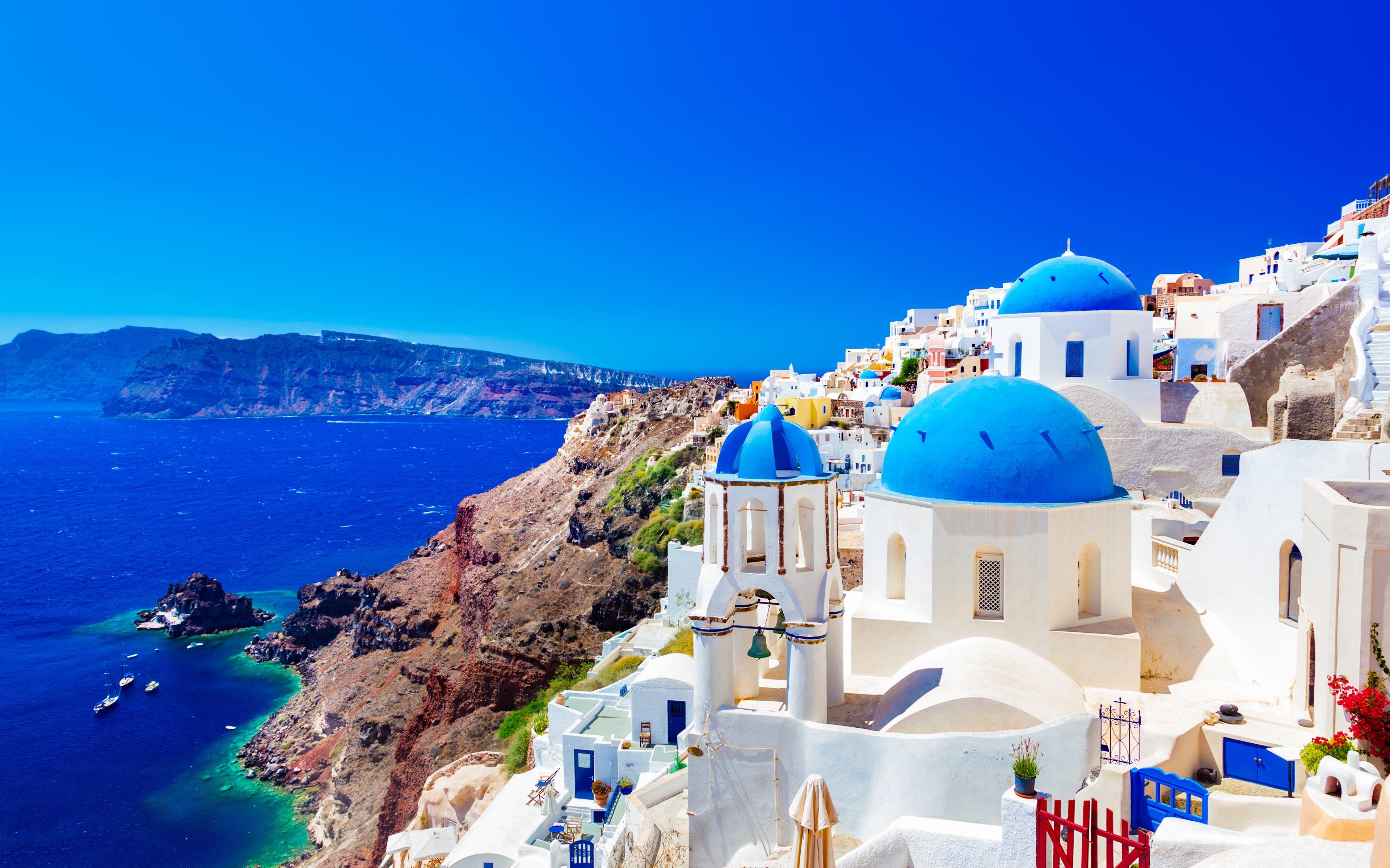 Download wallpapers Greek island Thira summer Santorini Greece 3840x2400