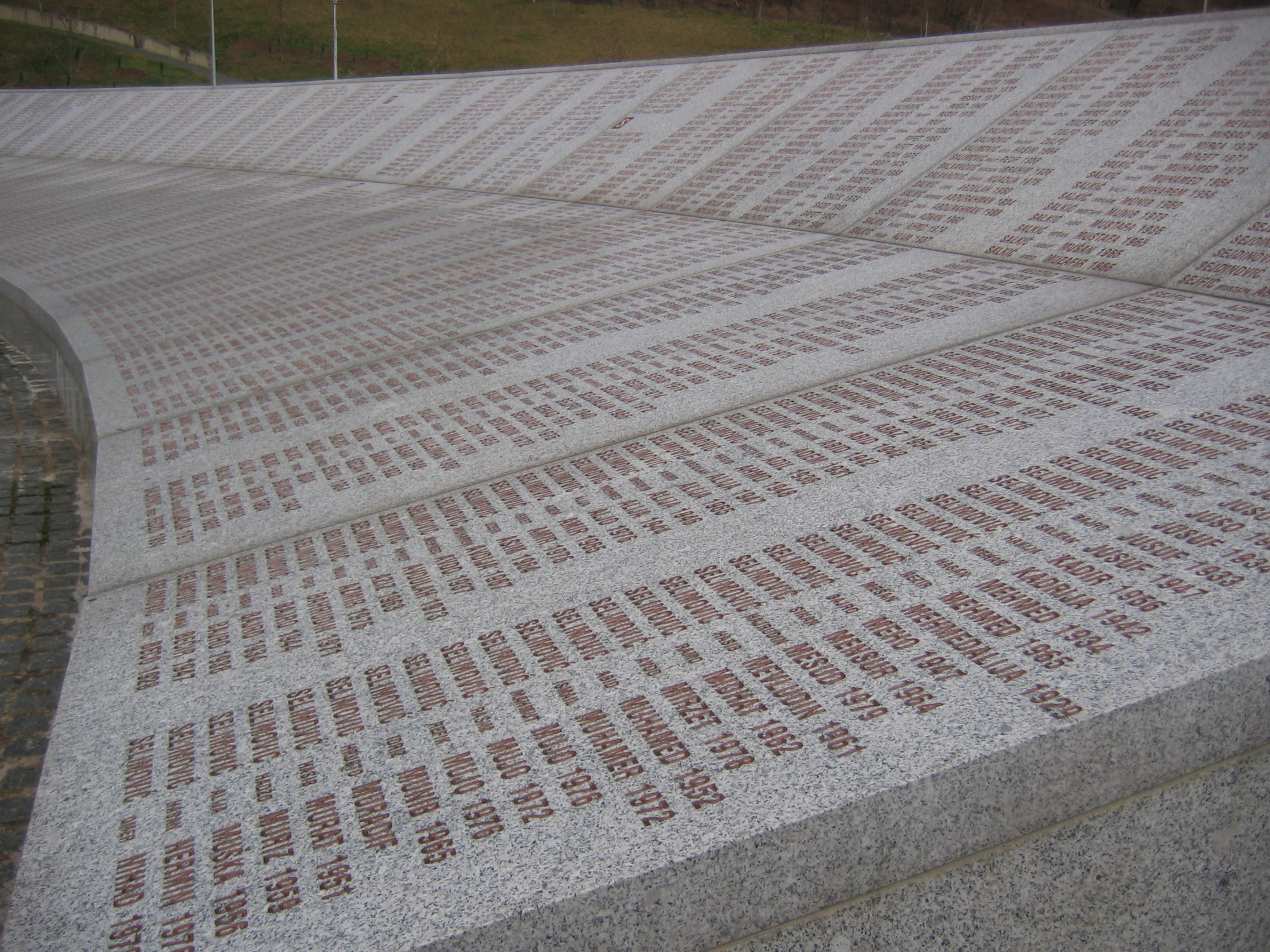 FileSrebrenica massacre memorial wall of names 2009 2jpg 2272x1704