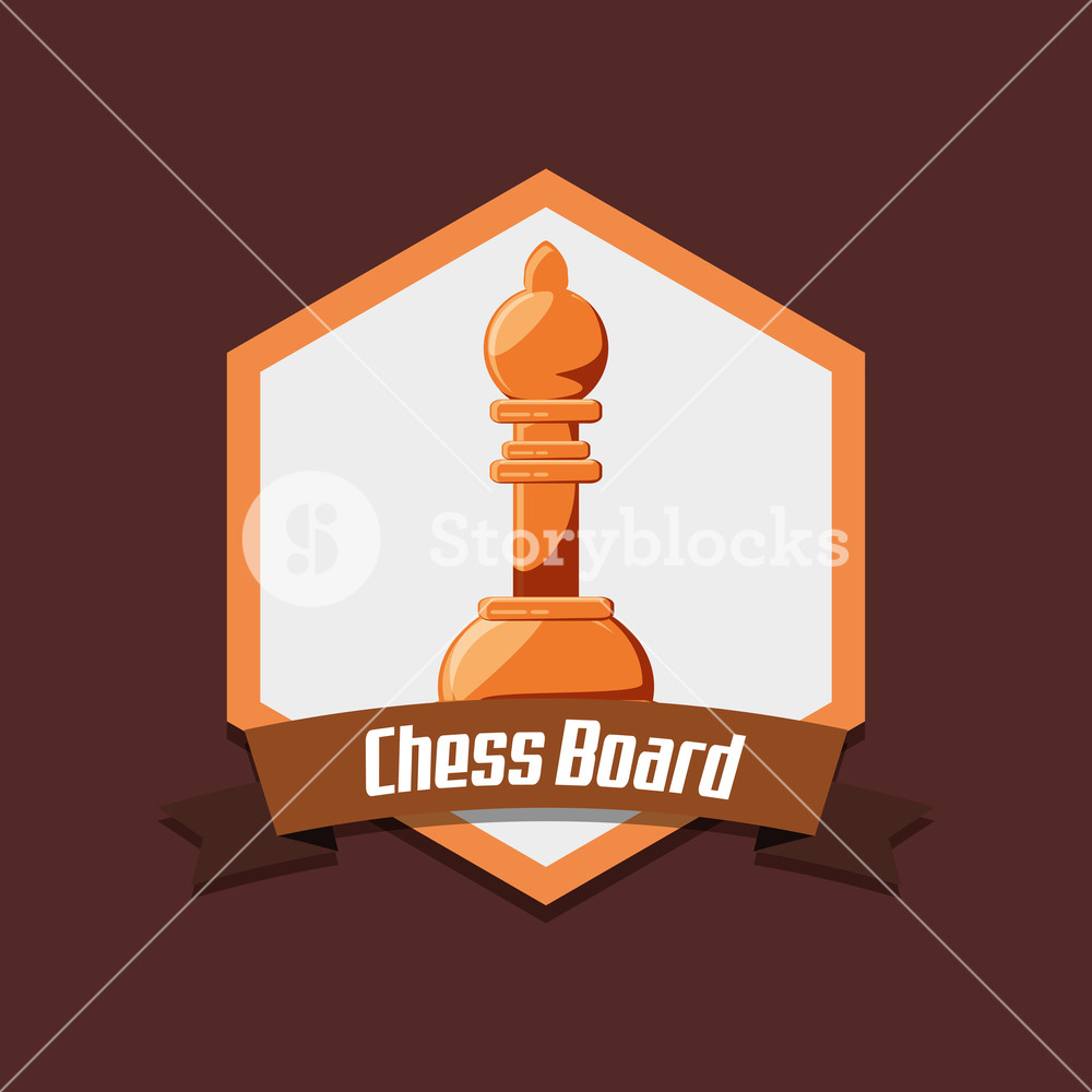 emblem of chess board with pawn piece over red background 1000x1000