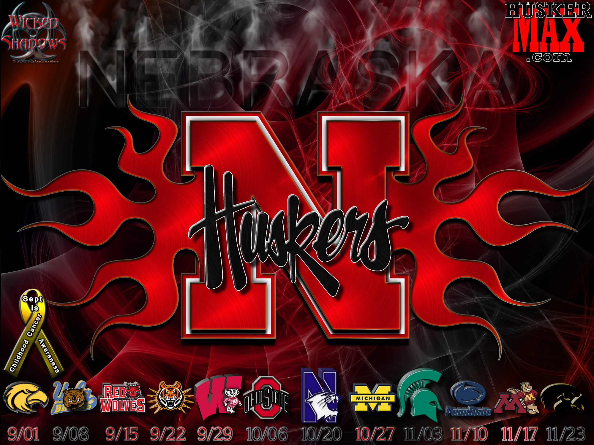 Nebraska Huskers 2012 football schedule wallpaper 2000x1500