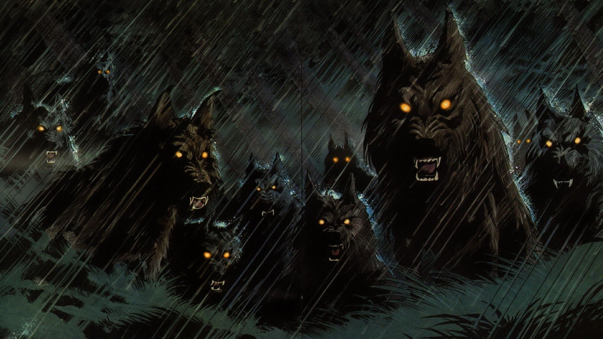 evil wolves dark werewolf hellhound animals wolf wolves fangs 1920x1080