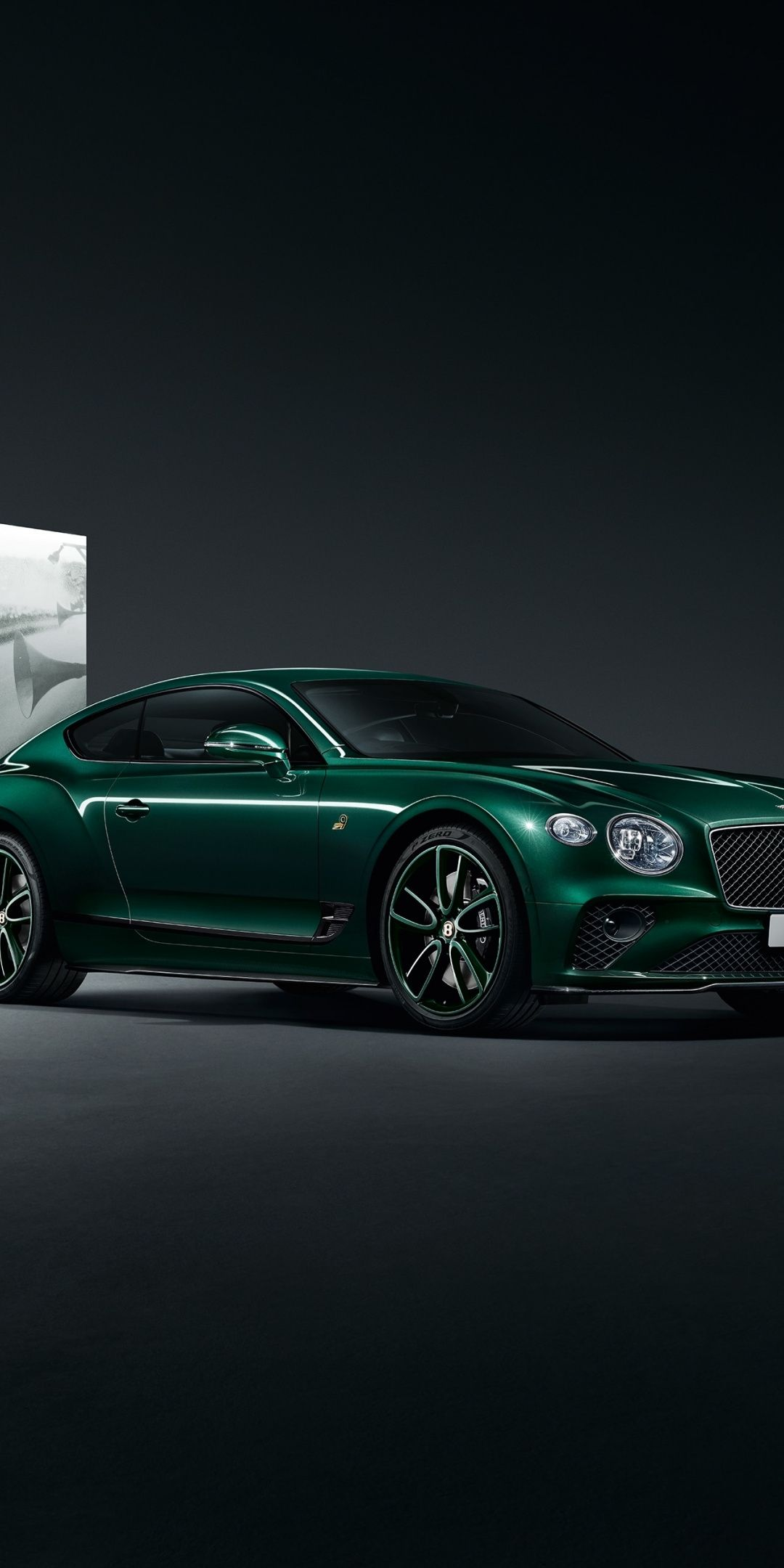 Green Bentley Continental GT number 9 edition portrait 1080x2160