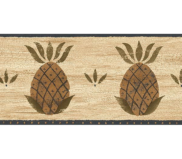 Brown and Blue Fruit Pineapple Wallpaper Border 600x525