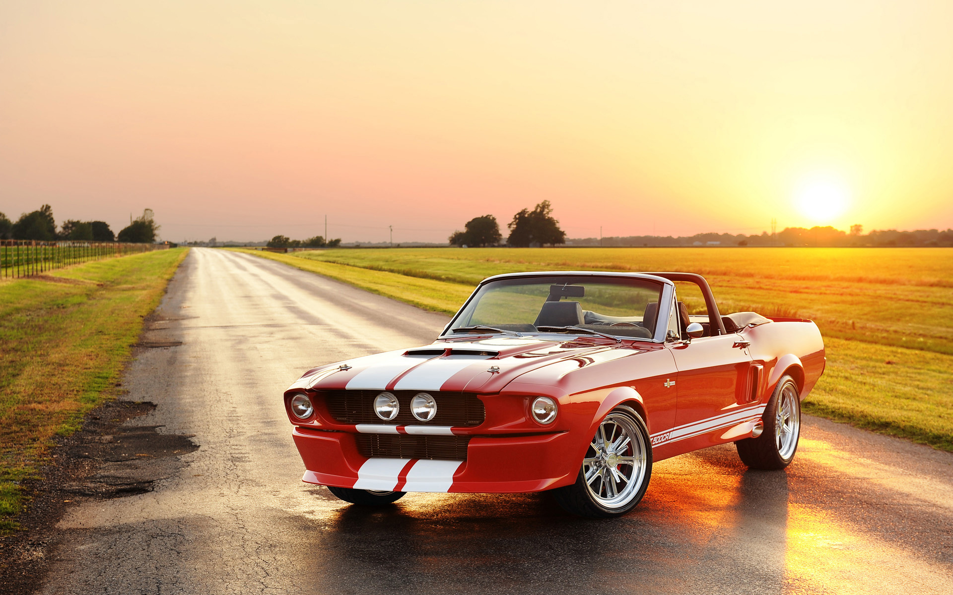 Ford Mustang Shelby GT500 67 Red Sunset Wallpaper Car Wallpaper 1920x1200