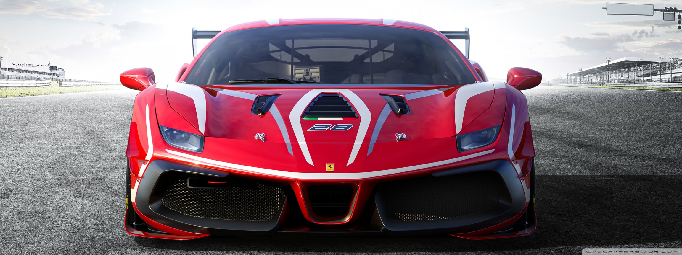 Ferrari 488 Challenge Evo Race Car 2020 Ultra HD Desktop 2304x864
