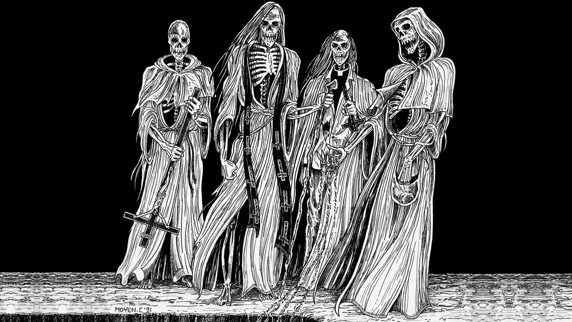 dark horror evil occult satan skull skeleton art wallpaper background 1920x1080