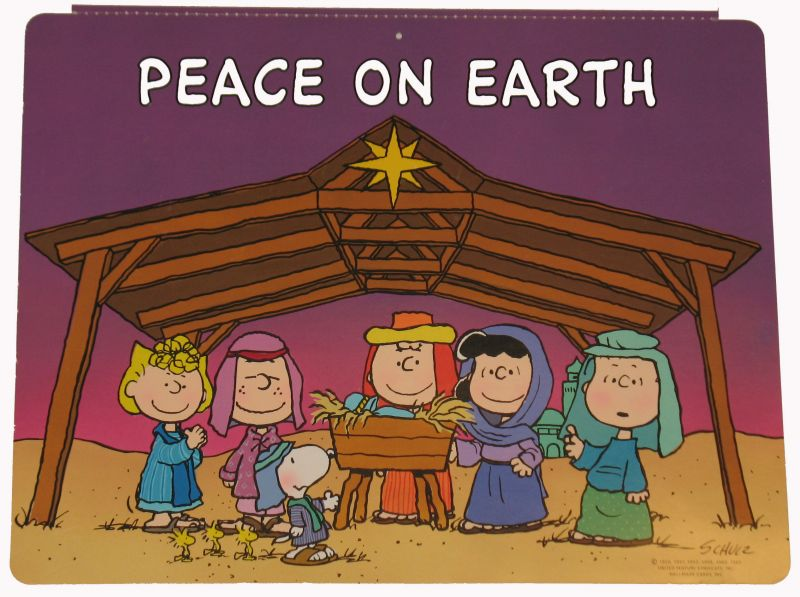 Peanuts Gang Nativity Wall Decor Snoopn4pnutscom 800x597