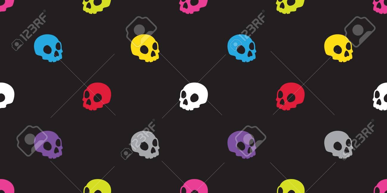 Skull Seamless Pattern Halloween Isolated Bone Skeleton Ghost Icon 1300x649