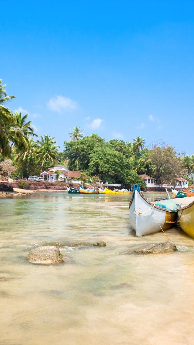 Wallpaper Goa 5k 4k wallpaper India Indian ocean palms boats 640x1138