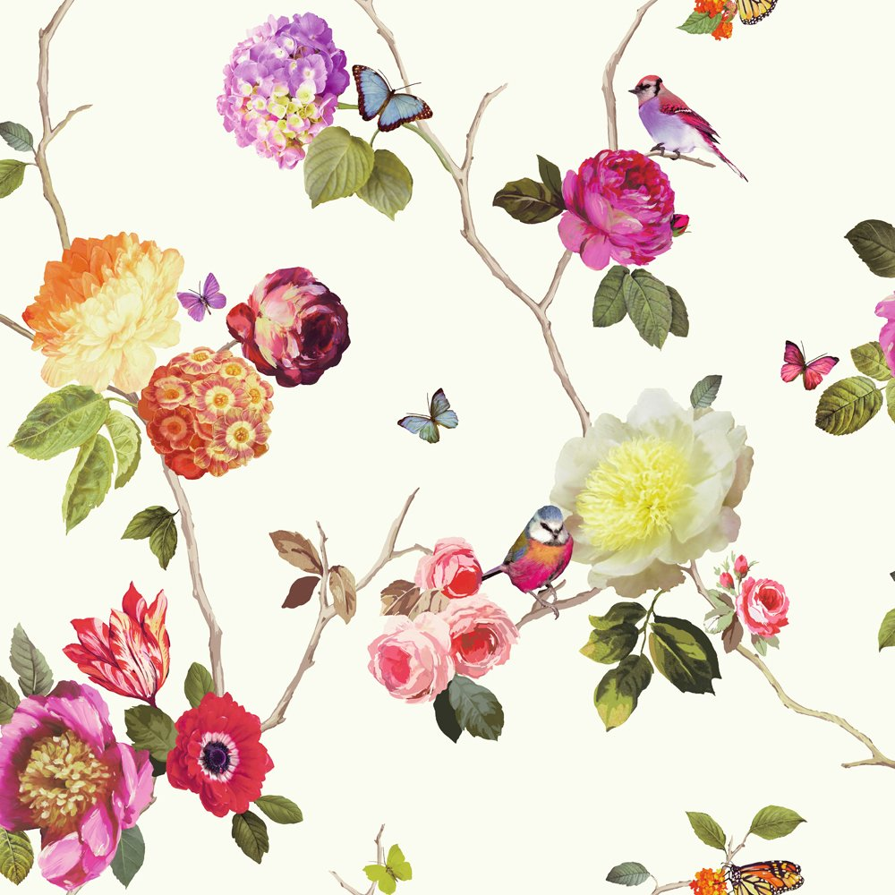 Flower Pattern Bird Butterfly Rose Floral Motif Wallpaper 889801 1000x1000