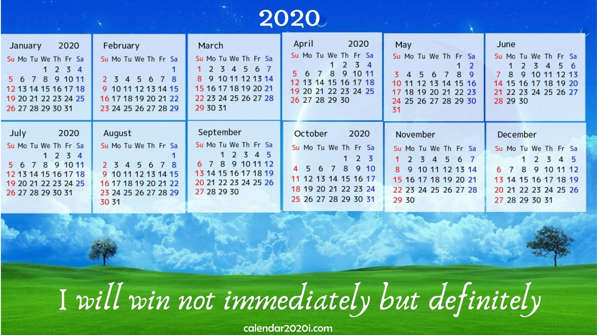 2020 Calendar With Inspirational Quotes Sayings Calendar 2020 1920x1080