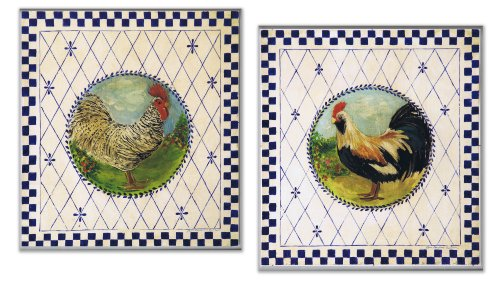 Stupell Home Blue Checkered Border Rooster Square Kitchen Wall Plaque 500x284