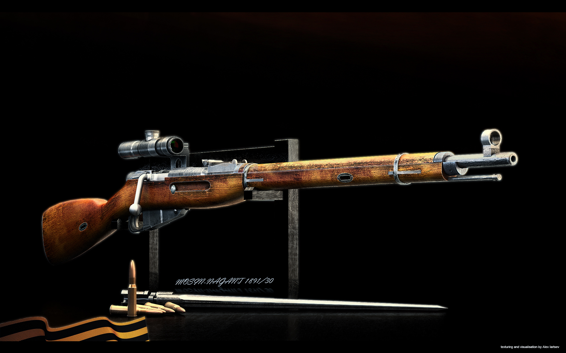 Wallpaper sniper rifle mosin weapons rendering wallpapers weapon 1920x1200