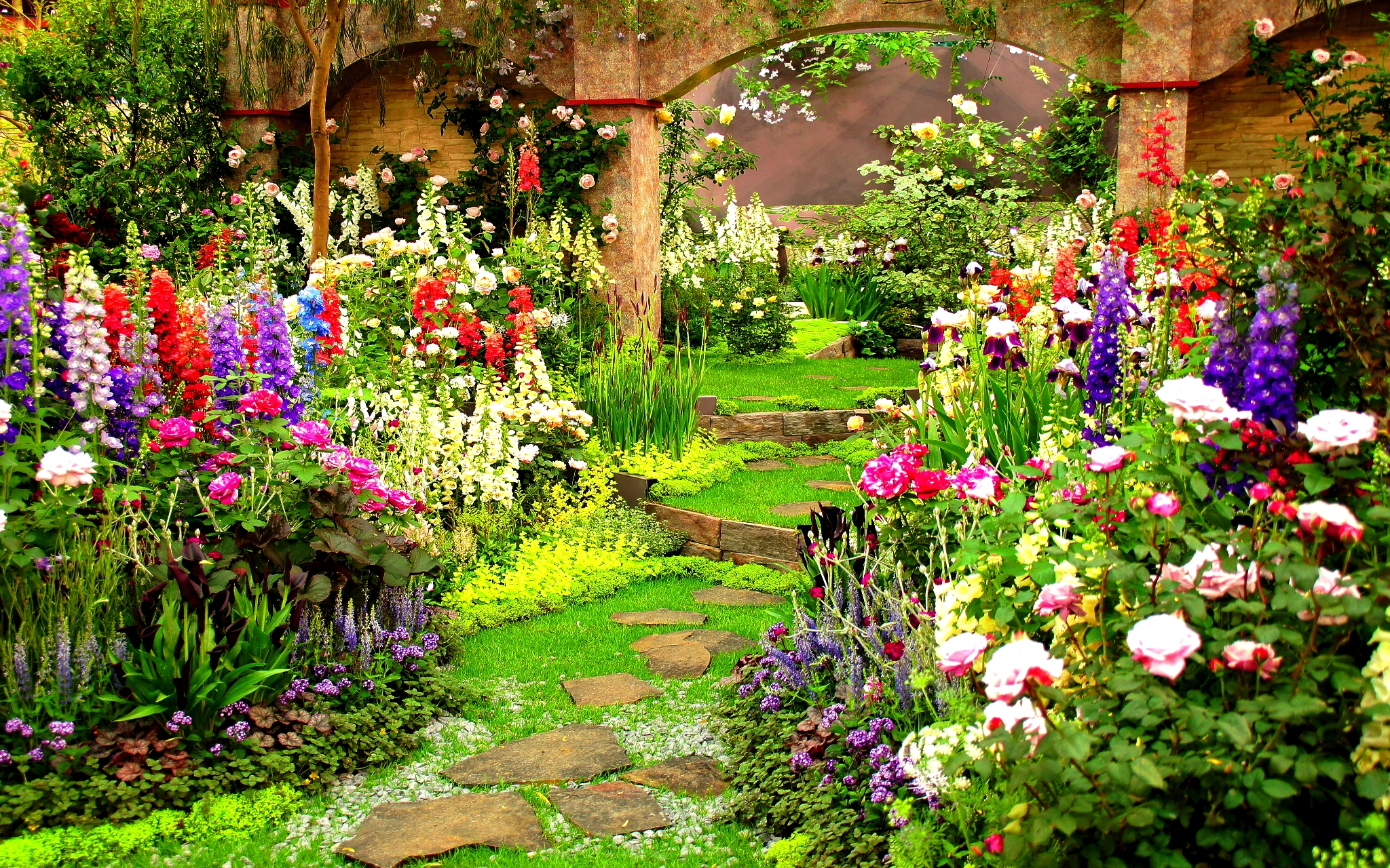 country garden wallpaper wallpapersafari. Black Bedroom Furniture Sets. Home Design Ideas