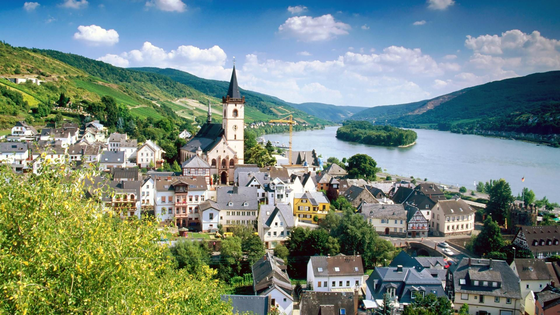 hd wallpaper lorch village on the rhine river germany Countries 1920x1080