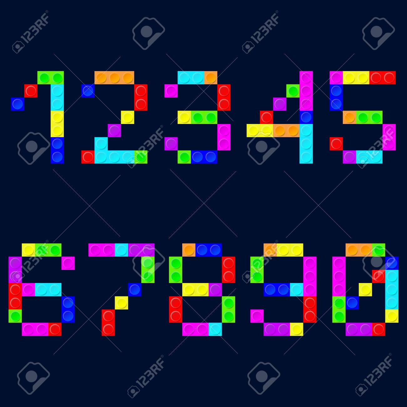 Colorful Tetris Blocks Number On The Background Vector 1300x1300