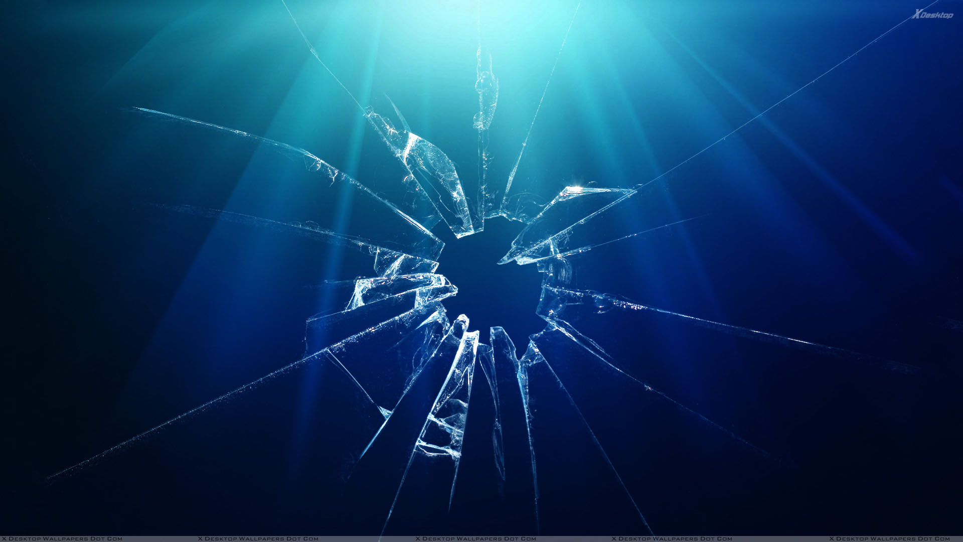Shattered Glass And Blue Background Wallpaper 1920x1080