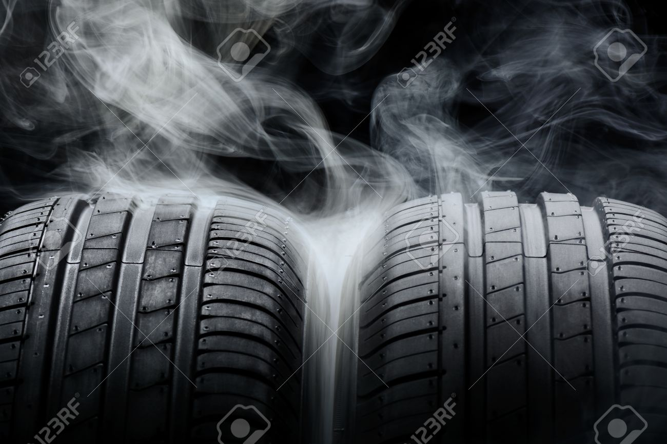 Car Tires And Smoke On Black Background Stock Photo Picture And 1300x866