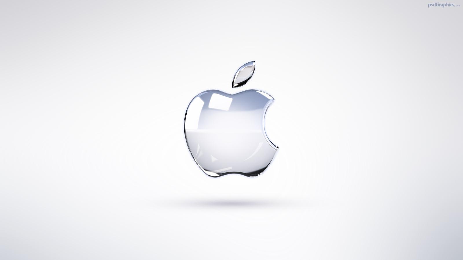 Bright Apple logo wallpaper PSDGraphics 1600x900