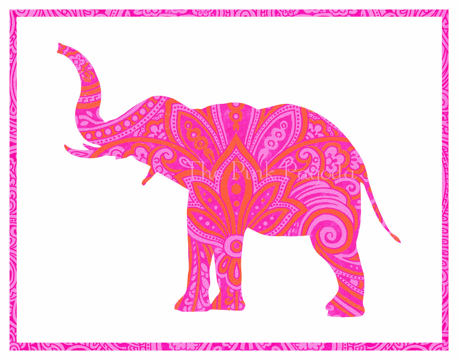 Tangerine Orange and Hot Pink Indian Paisley by thepinkpagoda 1500x1179