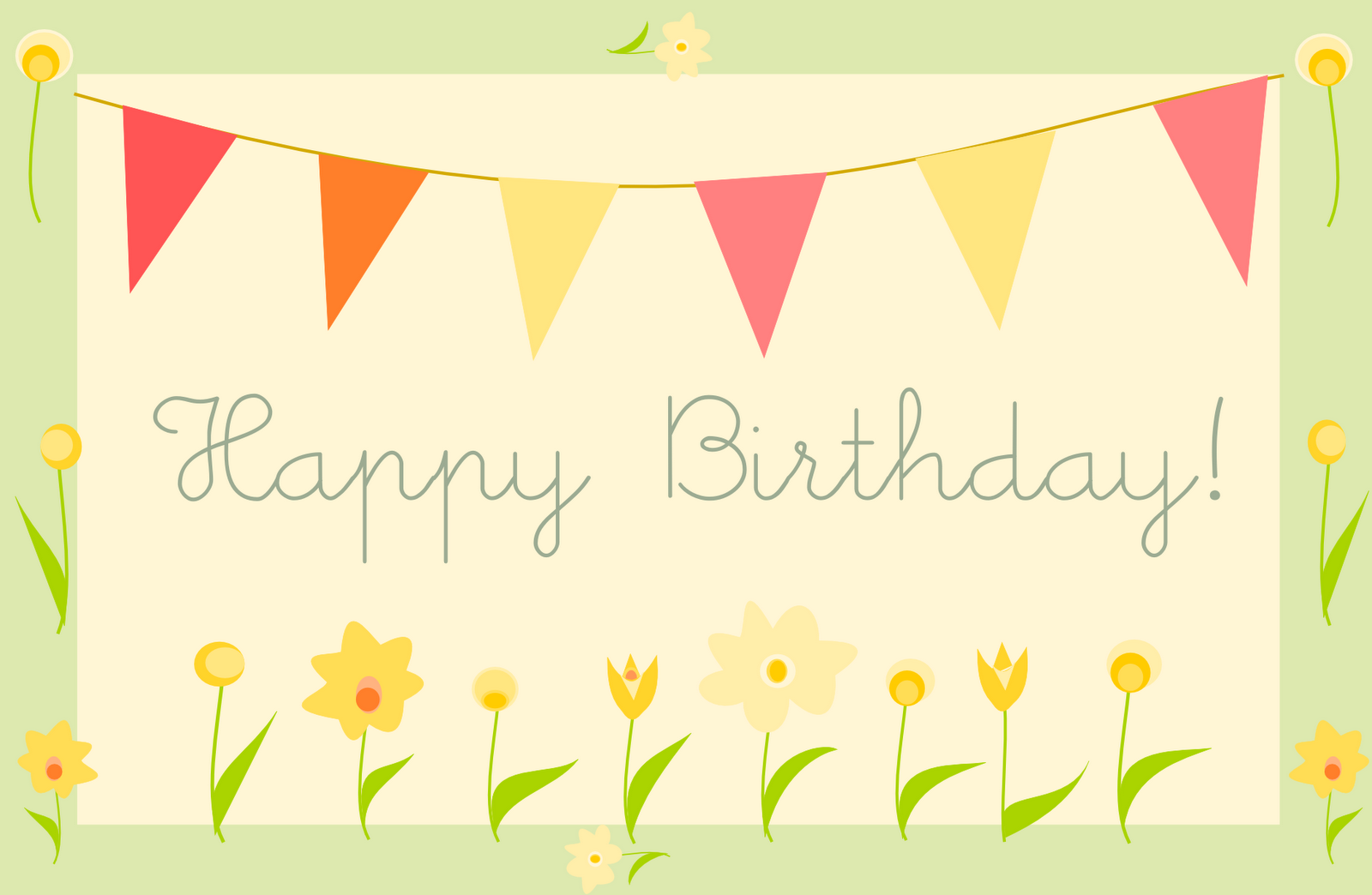 free printable happy birthday greeting card Gartenparty 1600x1044