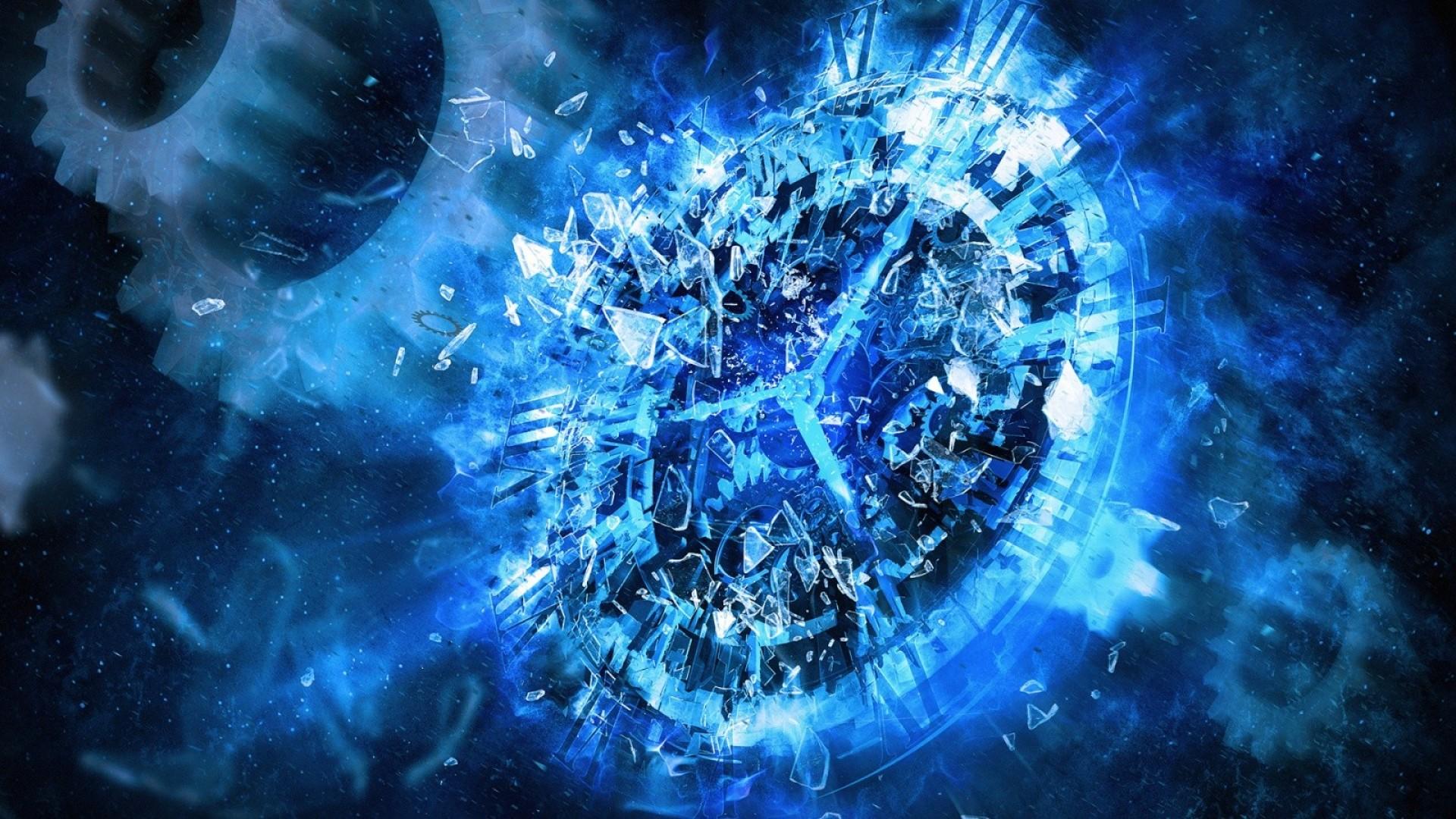 widescreen blue clock abstract hd desktop wallpaper 1920x1080