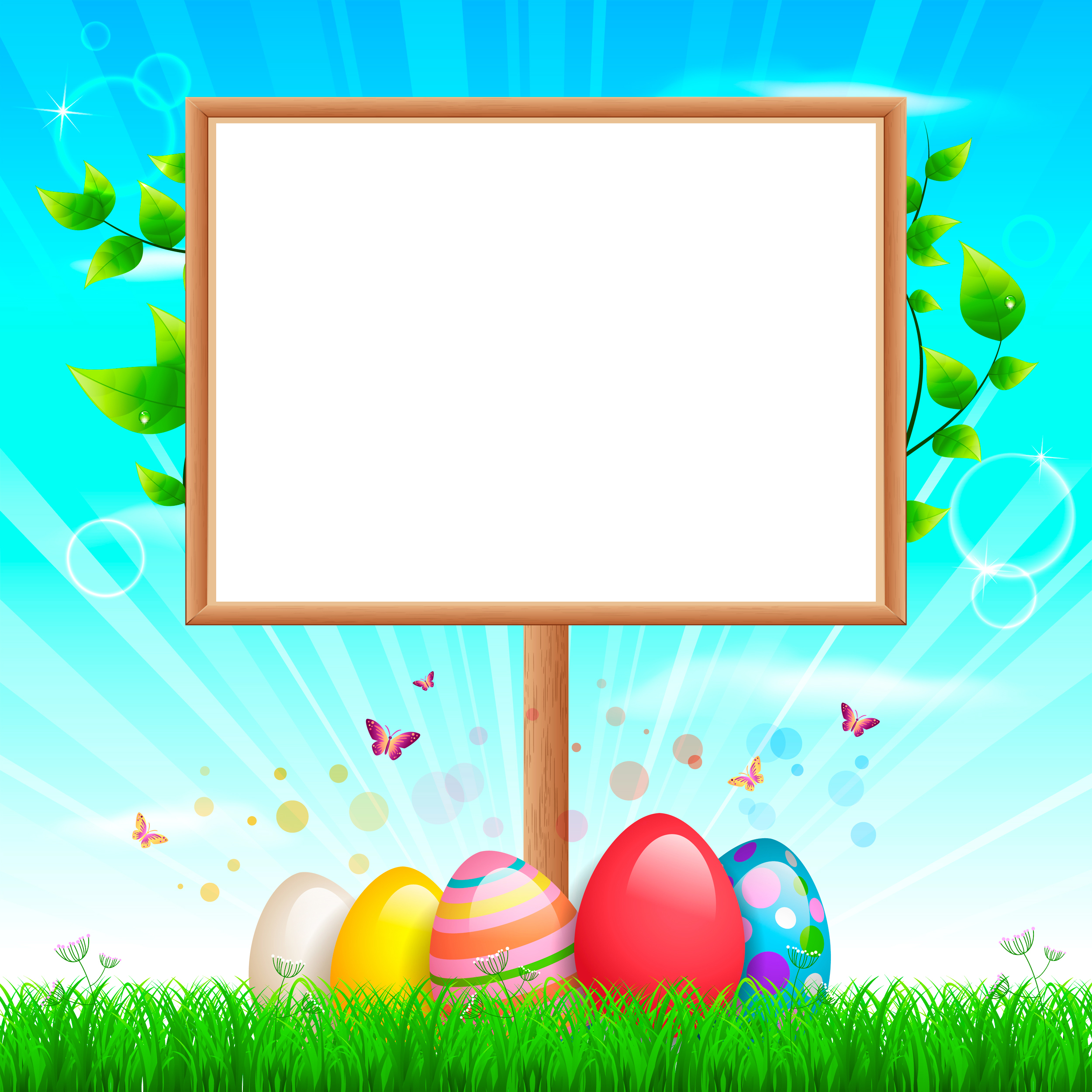 Happy Easter Background with Eggs Gallery Yopriceville 2500x2500