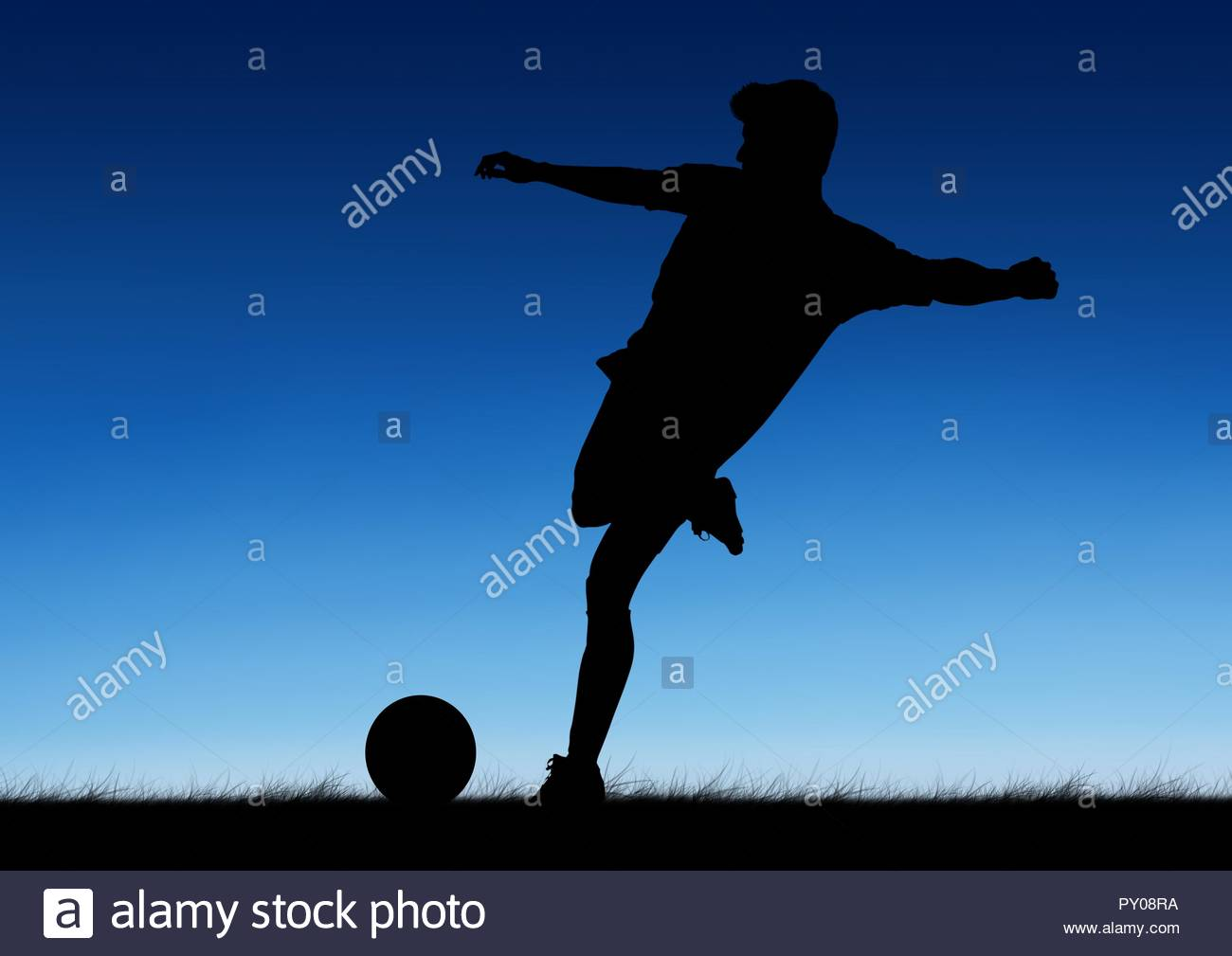 Silhouette of soccer player kicking a ball against blue background 1300x1009