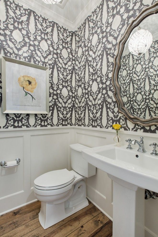 floral wallpaper Powder Room Traditional with wainscoting modern 660x990