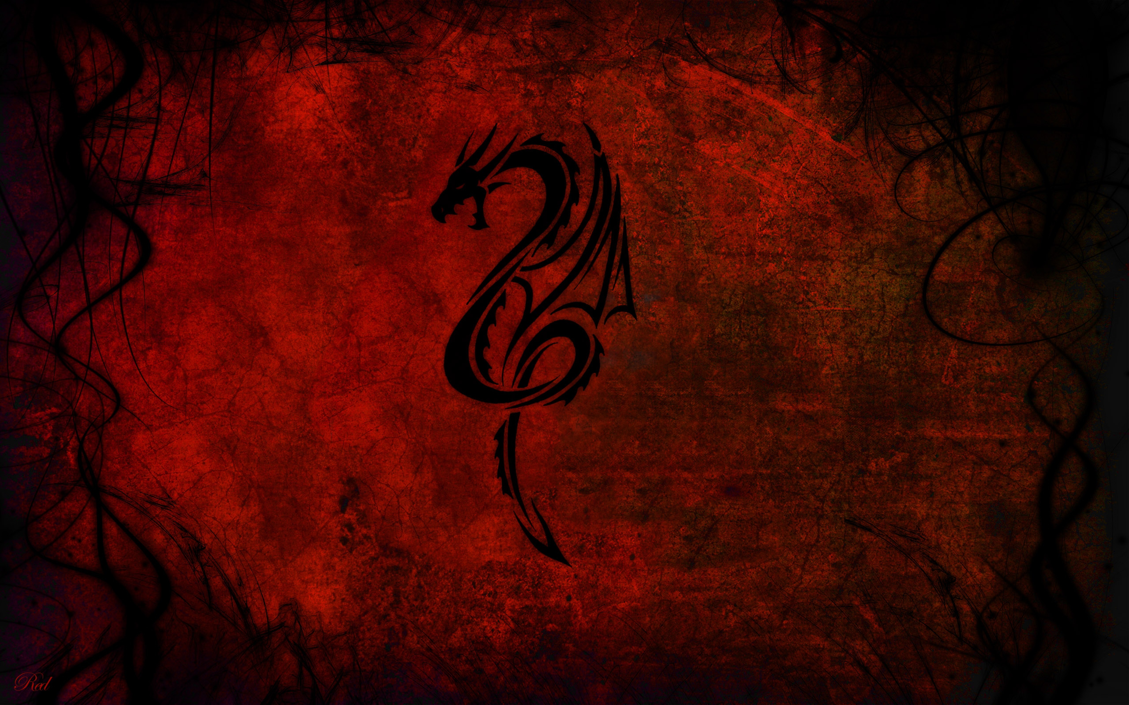 Download Wallpaper 3840x2400 Dragon Pattern Red Black Ultra HD 4K 3840x2400