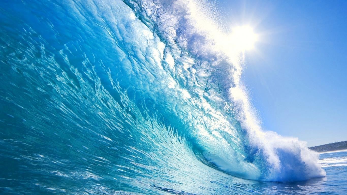 Download Blue Waves Crystal Beach Beautiful Nature Ocean Wallpaper 1366x768
