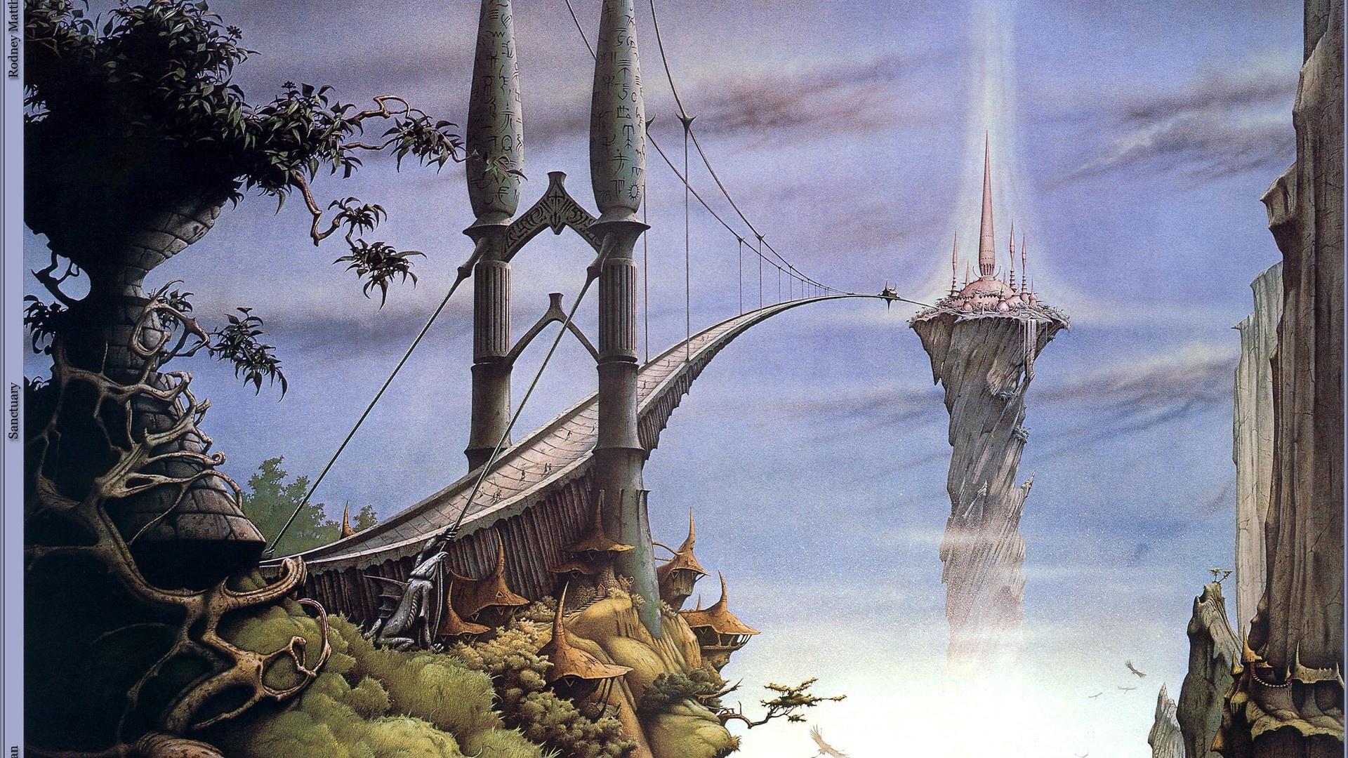 Fantasy art magic island bridges wallpaper 1920x1080 28942 1920x1080